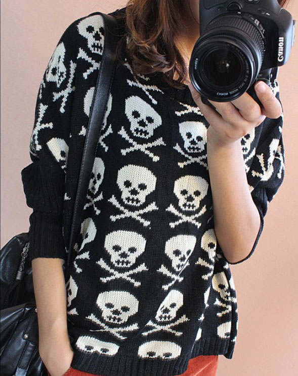 Punk Bat Sleeve Loose Skull Knitted Sweater