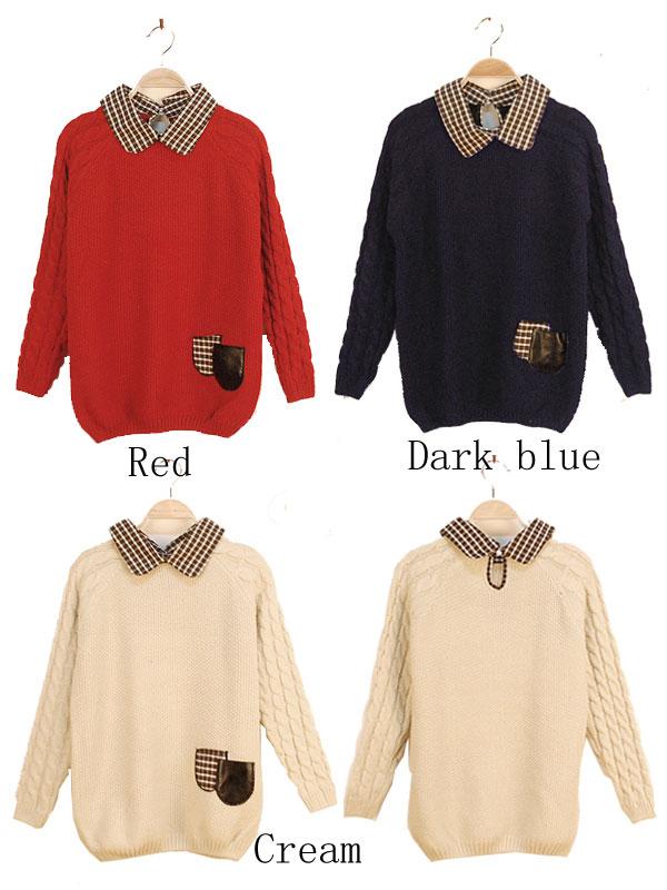 Cute Plaid Twist Lapel Sweaters
