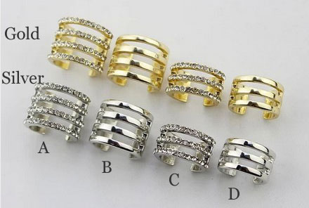 Classic Full Rhinestone Row Joint Ring