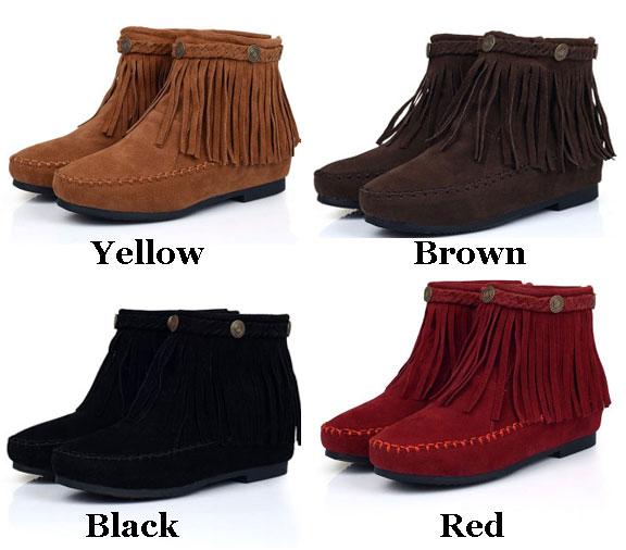 Sweet Nubuck Leather Tassel Height Increasing Flat Boots