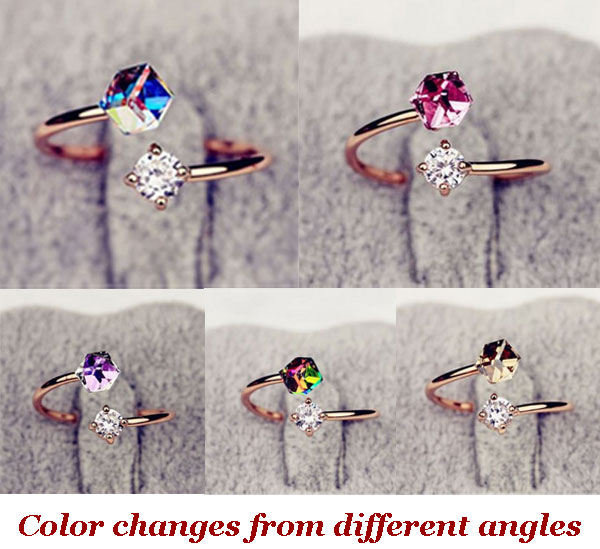 Colorful Zircon Rhinestone Opening Ring
