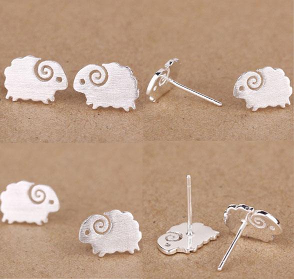 Cute Little Lamb Pure Silver Stud Earrings