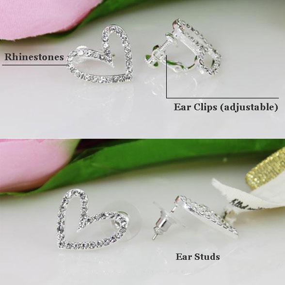 Hollow Heart Shape Ear Studs/Ear Clips