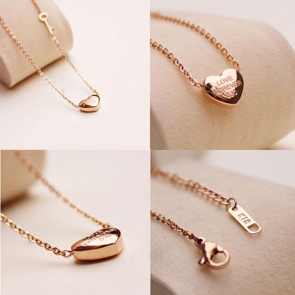 Unique Heart Pendant Key Golden Necklace