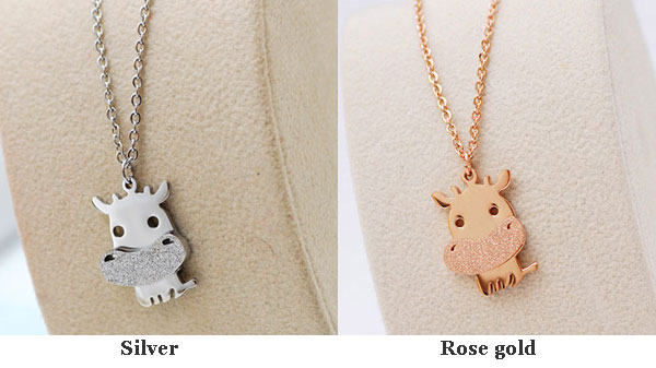 Cute Little Cattle Animal Frosted Gold Necklace