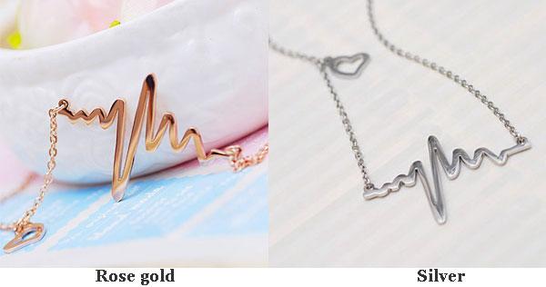 ECG Heart 18K Rose Gold Necklace/Birthday Gift