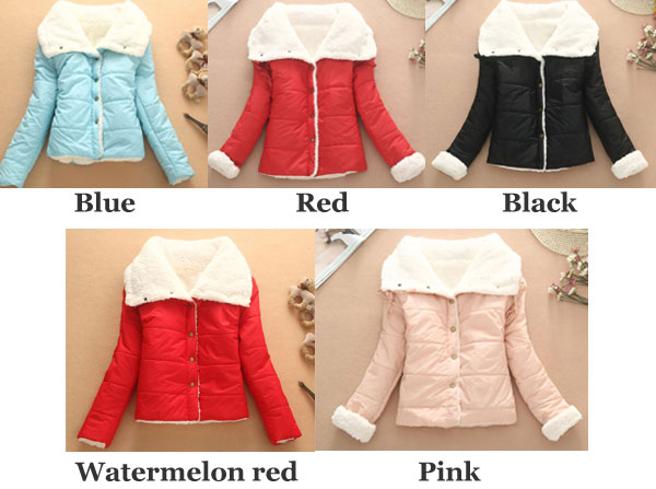 Cute Warm Wool Cotton-padded Jacket/Short Coat