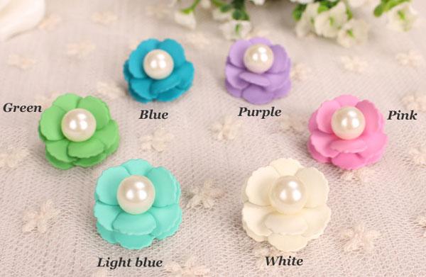 Fresh Beautiful Candy Color Pearl Flower Stud Earrings