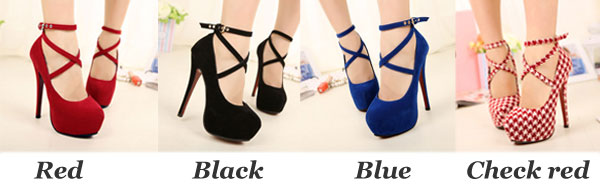 Cross Buckle Platform Super High Heels/Shoes