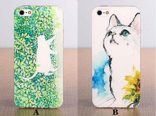 Fresh Cute Cat Cartoon Pattern Silicone Iphone 5/5s/5c/6/6s Cases