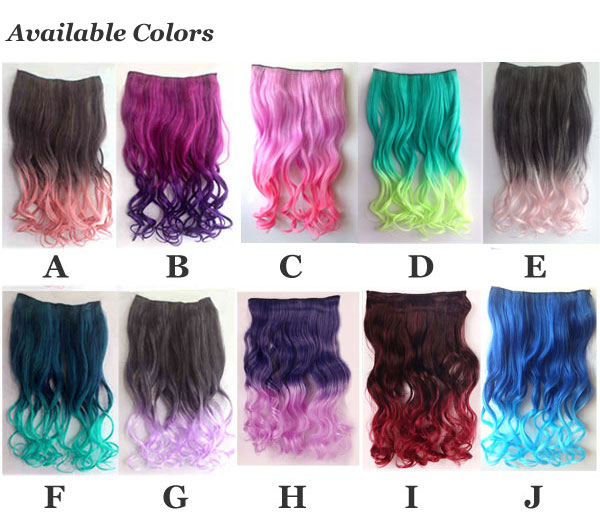 Night Club Long Wavy Colorful Clip Hair Weft