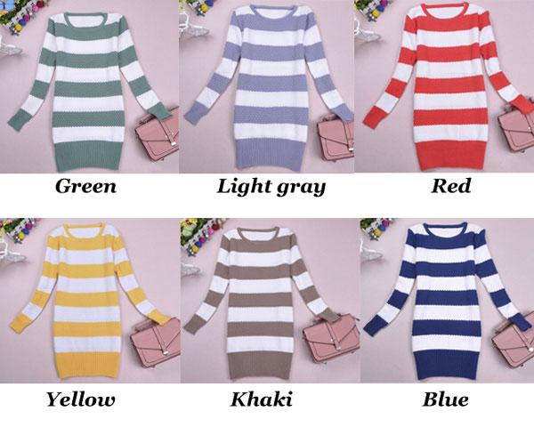 Fashion Fresh Colored Strip Long Knit Sweater