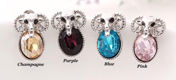 Cute Sheep Animal Rhinestone Ear Studs/Earrings