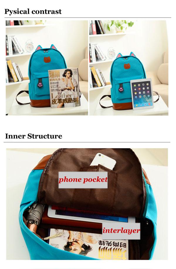 College Style Kitten Canvas Shoulder Bag Backpack