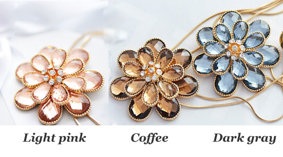 Flower Tassel Rhinestone Long Sweater Chain Necklace