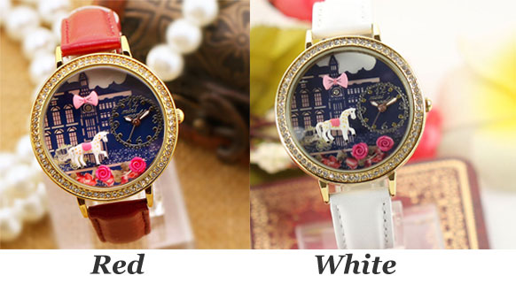 Cute Horse Rose Cartoon Rhinestone Leather Lady Watch