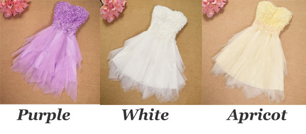 Floral Beading Irregular Layers Gauze Strapless Dress