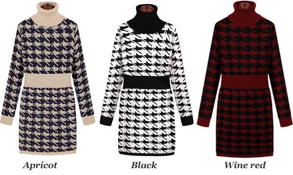 Thick High Collar Plaid Sweater Dress
