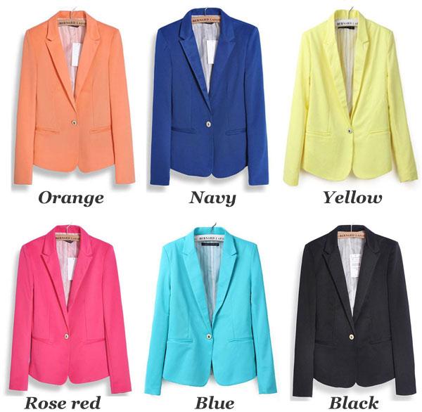Candy Color Slim Lapel Suits Coats