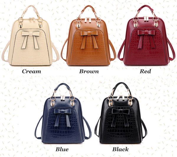New Arrival College Bow Leather Backpack Schoolbag