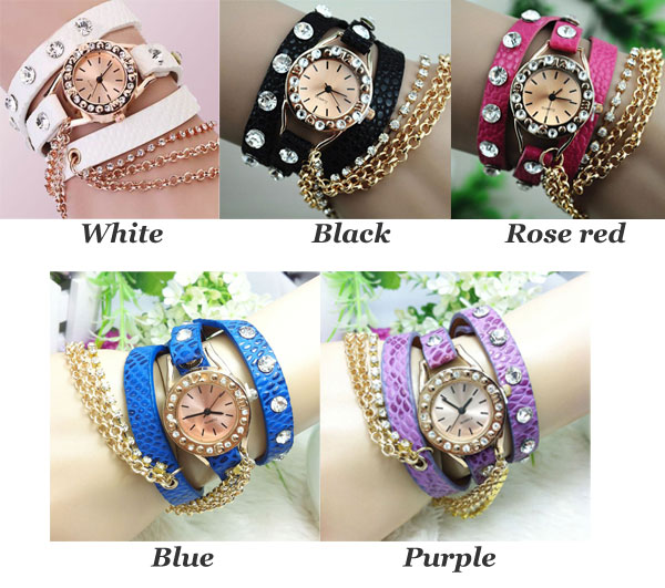 Full Rhinestone Leather Metal Bracelet Watch