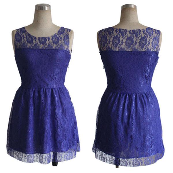 Slim Lace Sleeveless Purple Party Dress