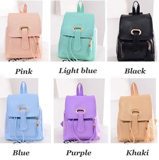 Fresh Candy Color Buckle Tassel Student Bag Backpack
