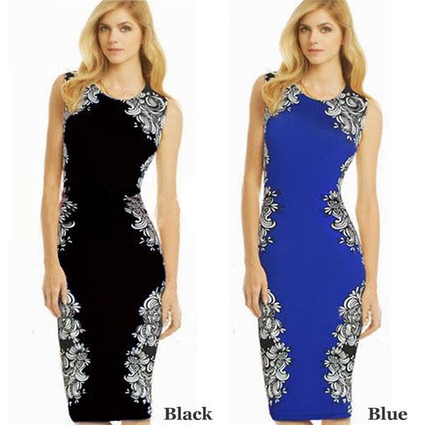 Slim Sleeveless Flower Print Keen Length Dress Party Dress
