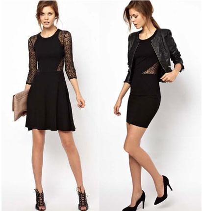 Slim Hollow Lace Stitching Black Dress