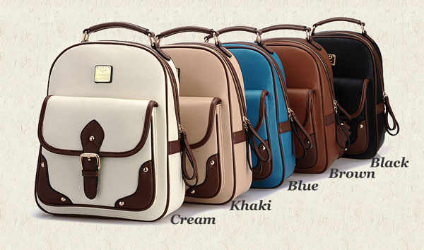 Retro British Style Travel Bag Shoulder Bag Buckle Backpack