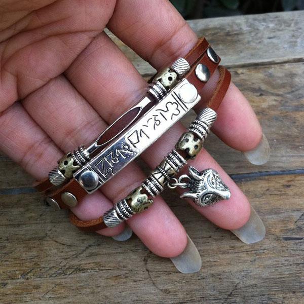 Wolf Animal Charms Leather Bracelet Jewelry