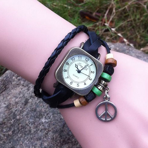 Retro Square Wrap Leather Bracelet Watch