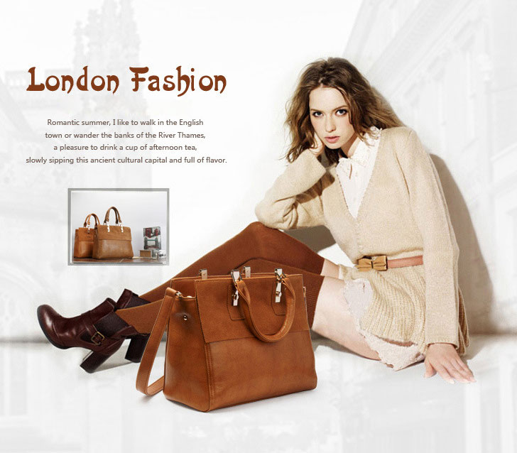 Elegant British Style Scrub Leather Handbag