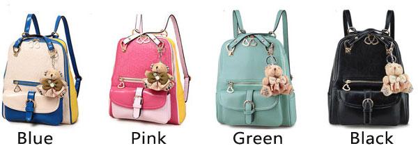 New Contrast Color Preppy School Backpack