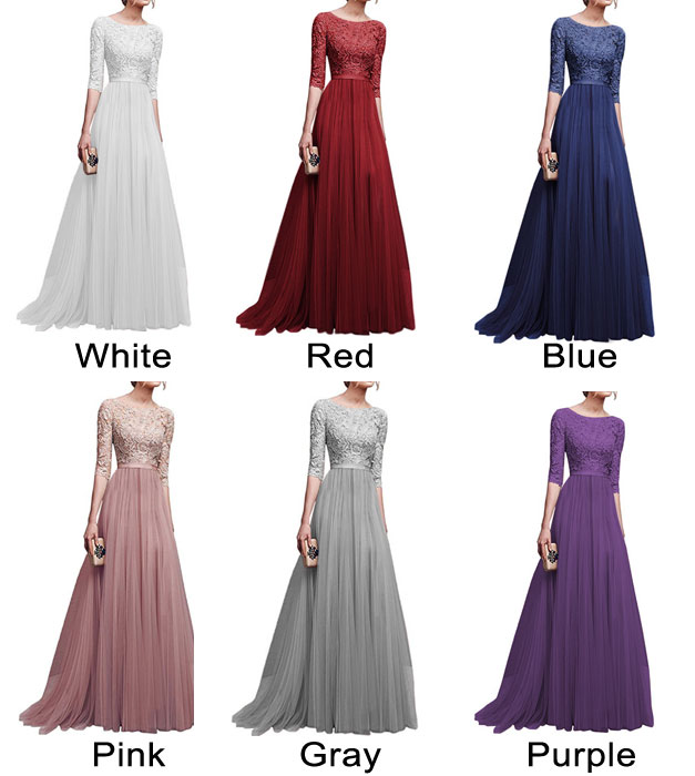 Fashion Middle Sleeves Lace Party Dress Chiffon Long Evening Dress