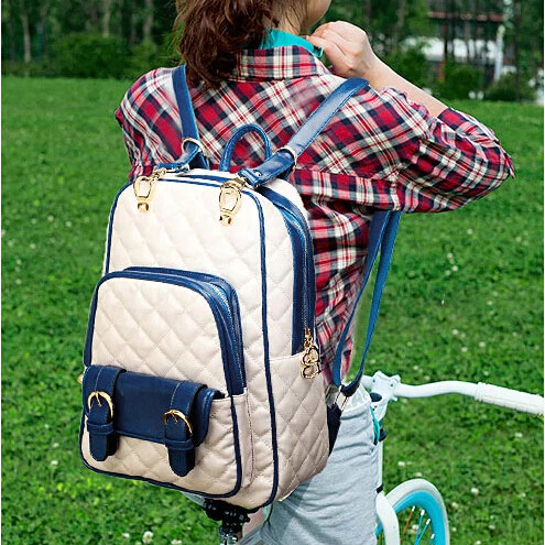 British Style Geometric Printed Leather Backpack&School Bag