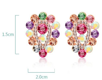 Bling Water Drop Fully Diamond Clip Earrings