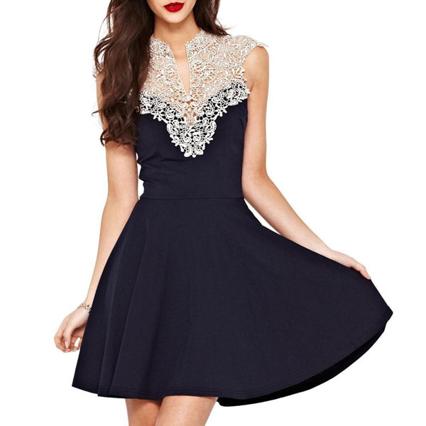 Elegant Crocheted Hollow Flower Lace Dress