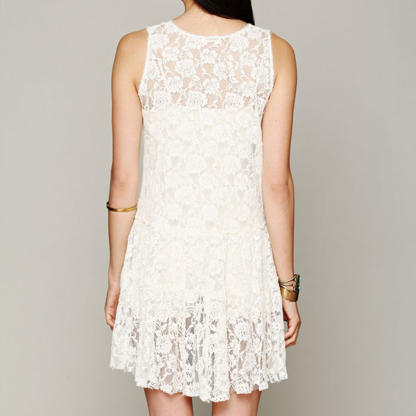 See Through Sleeveless Flower Pattern Lace Dress
