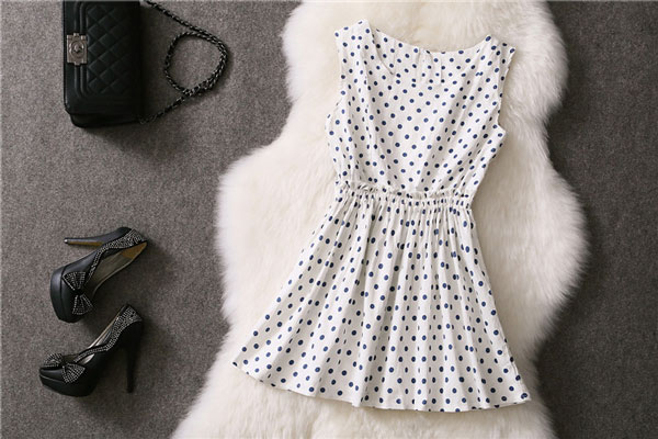 Geometry And Wave Point Pattern Sleeves Dress