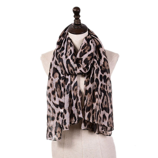 Leisure Thin Cotton Voile Scarf Leopard Multi-Color Women Scarves