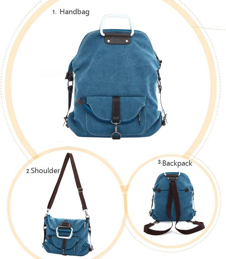 Fashion Multi-function Shoulder Bag &Canvas Backpack