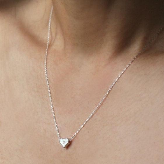 Unique Heart Shape Rhinestone 925 Sterling Silver Necklace