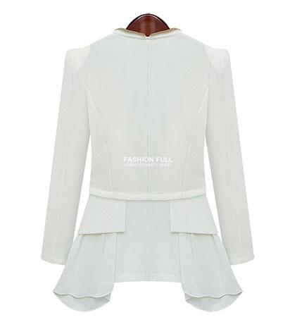 Slim Zipper Irregular Bubble Long Sleeve Coats