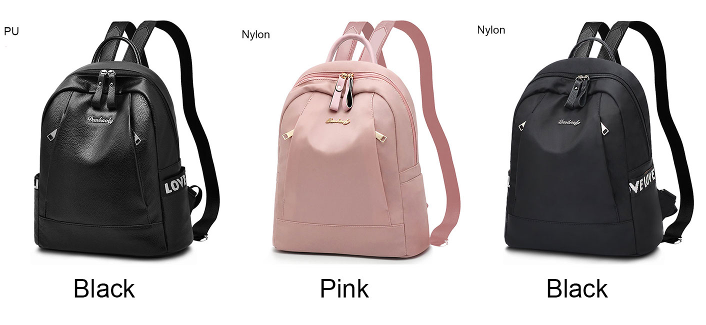 Fashion Black Pink Love Pocket Nylon PU Simple Large School Backpack