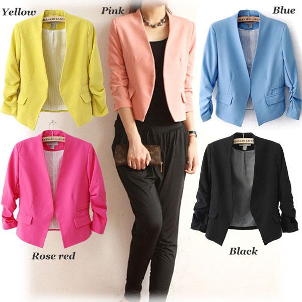 Sweet Candy Colors Bubble Sleeve Short Suits Coats