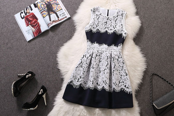 Space Cotton Jointed Lace Sleeveless Dress