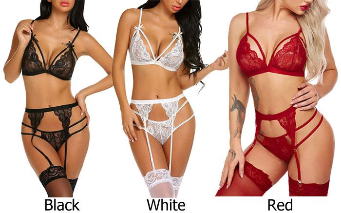 Teddy For Women Lace Bowknot Bra Panty 2 Set With Garter Belt Babydoll Underwear Halter Lingerie
