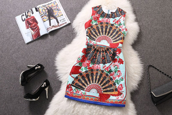 Classic Colorful Print Sleeveless Organza Dress