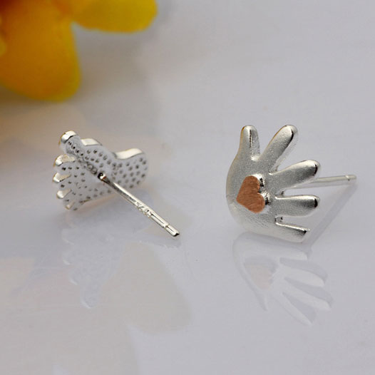 Lovley Adorable Palm Sole Heart Silver Stud Earrings